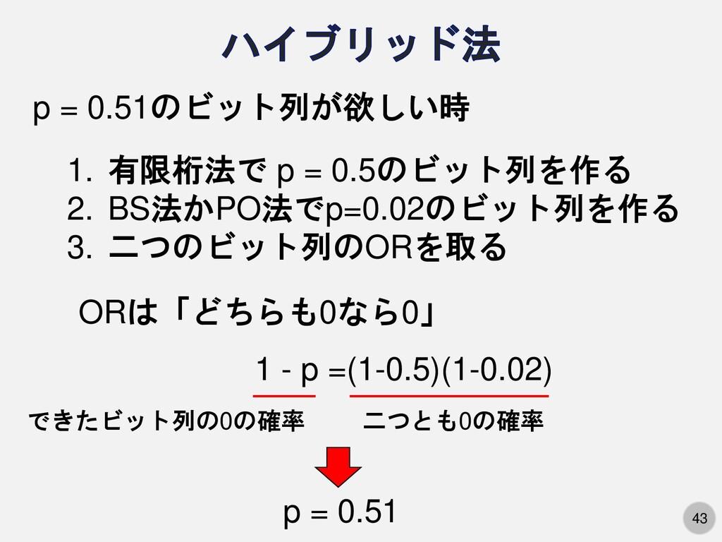 43 p = 0.51のビット列が欲しい時 1. 有限桁法で p = 0.5のビット列を作る ...