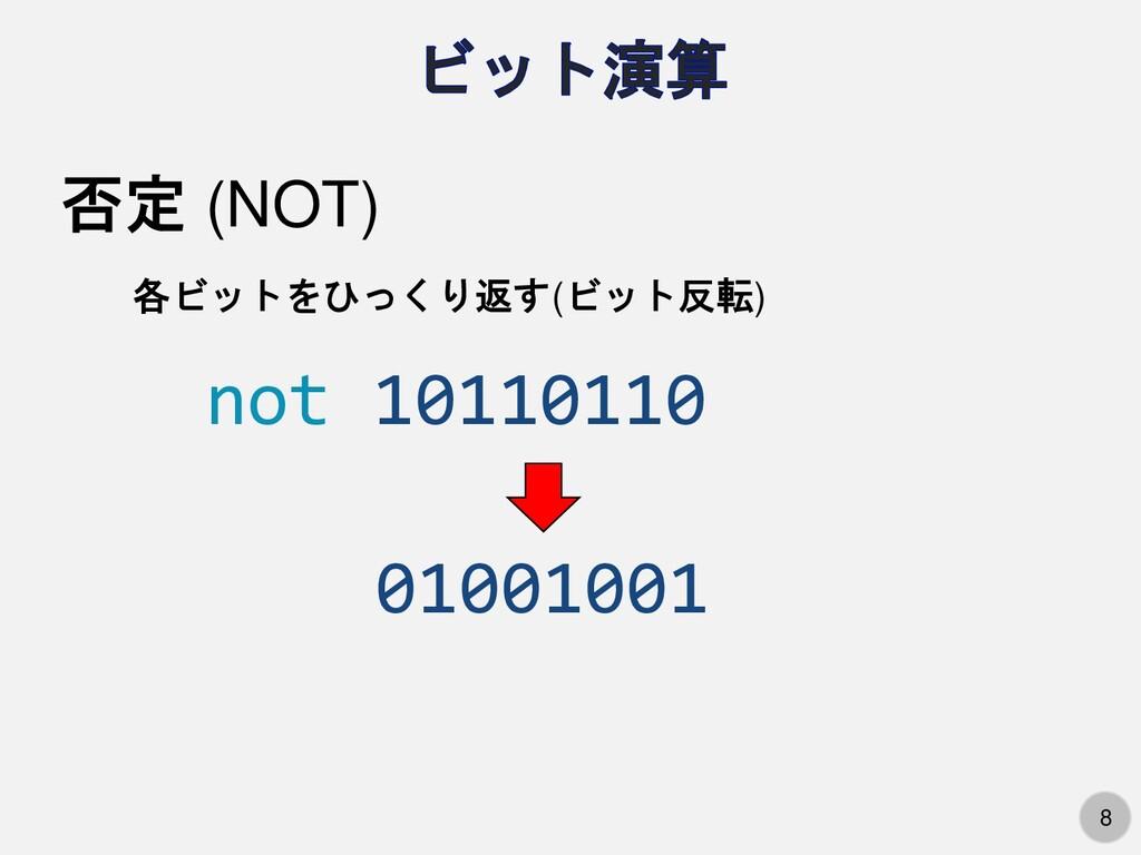 8 否定 (NOT) 各ビットをひっくり返す(ビット反転) not 10110110 0100...