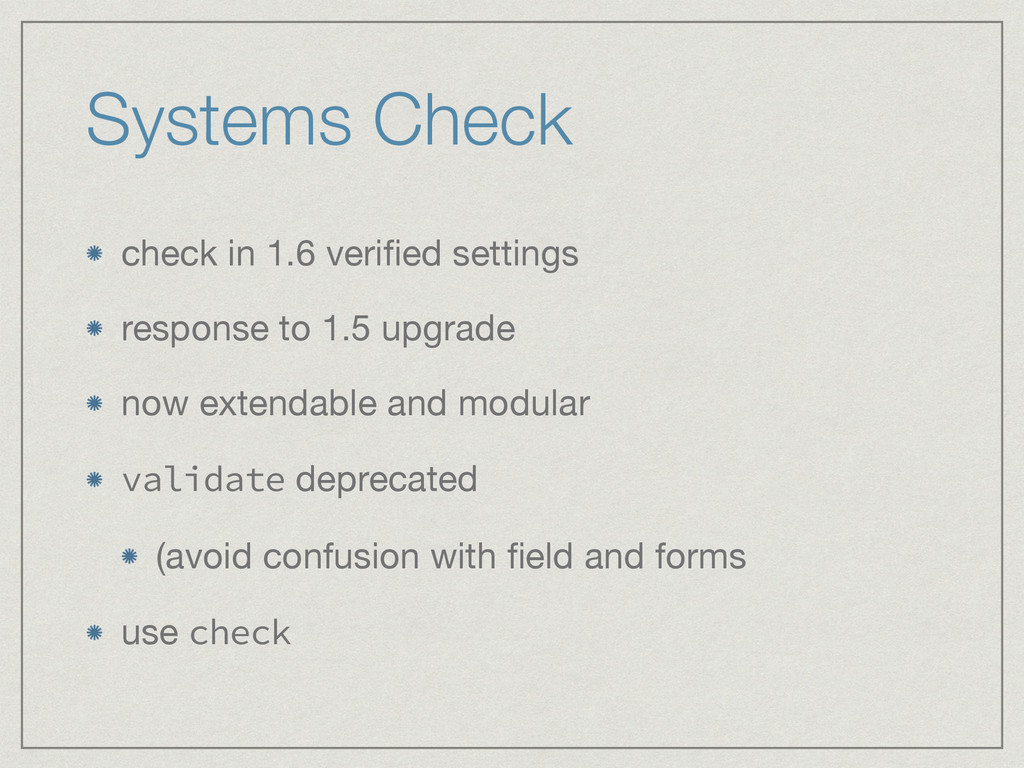Systems Check check in 1.6 verified settings  re...