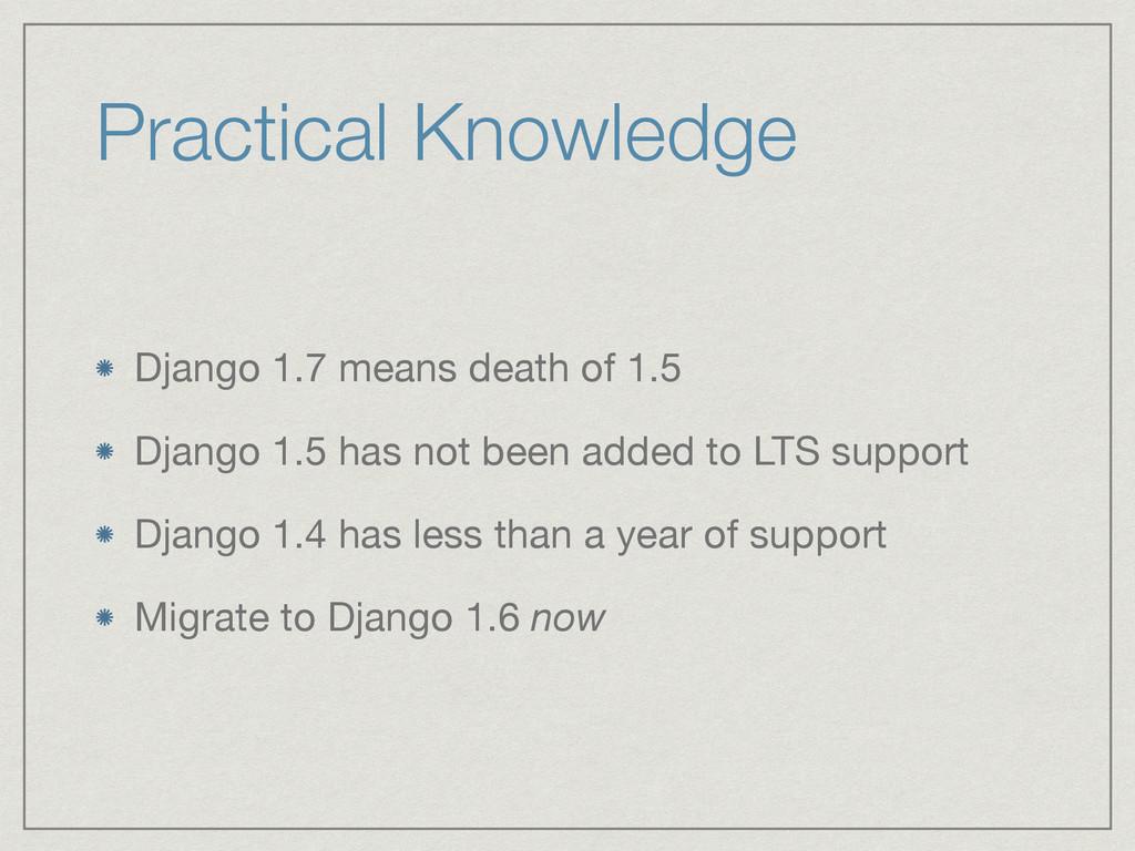 Practical Knowledge Django 1.7 means death of 1...