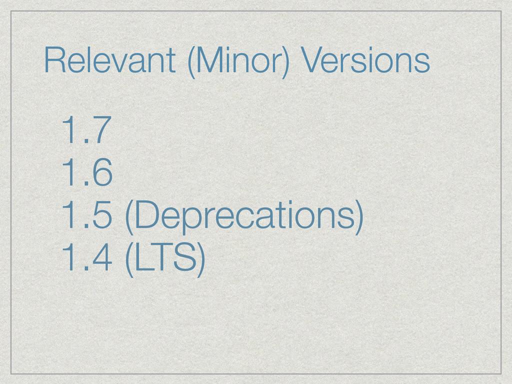1.7 1.6 1.5 (Deprecations) 1.4 (LTS) Relevant (...