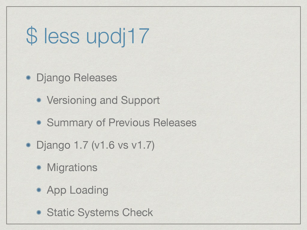 $ less updj17 Django Releases  Versioning and S...