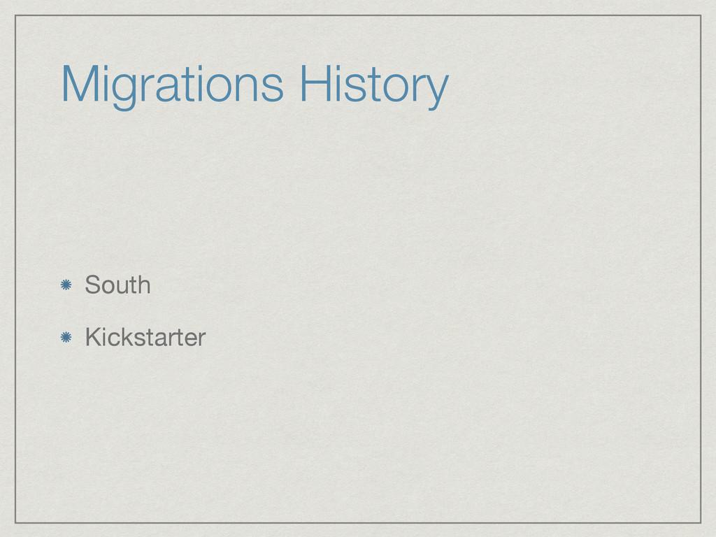 Migrations History South  Kickstarter