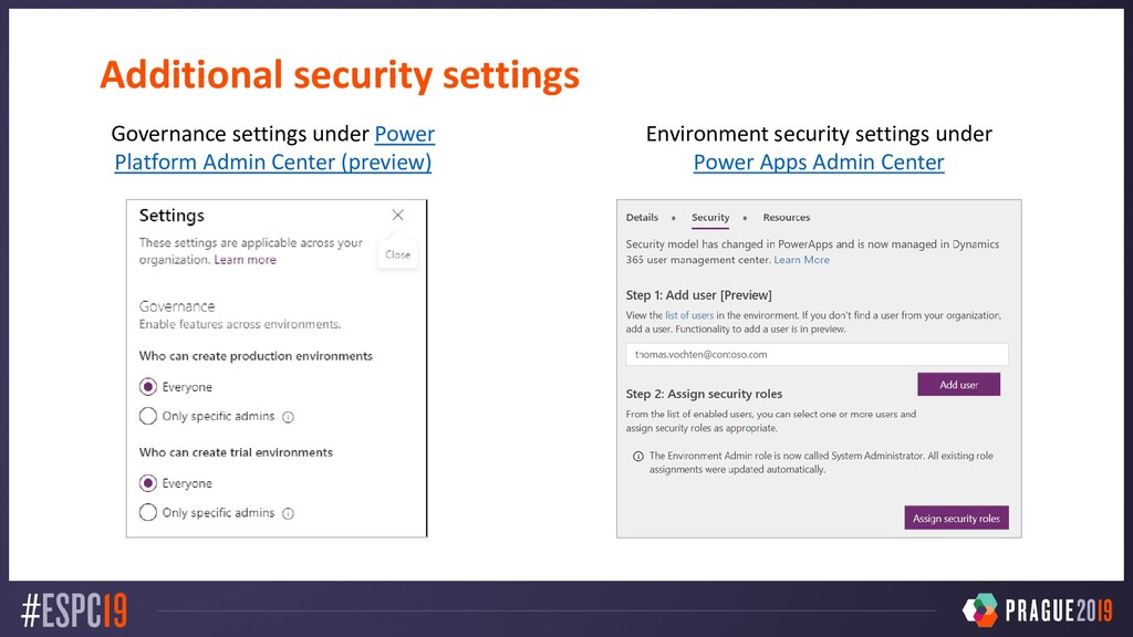 Additional security settings Governance setting...