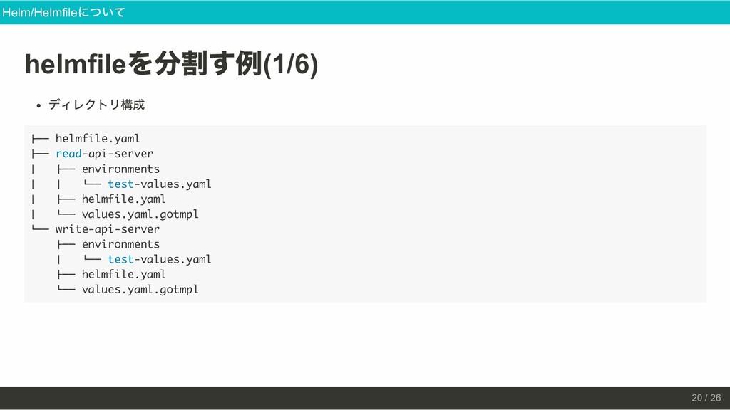 helmfile を分割す例 (1/6) ディレクトリ構成 ├── helmfile.yaml...