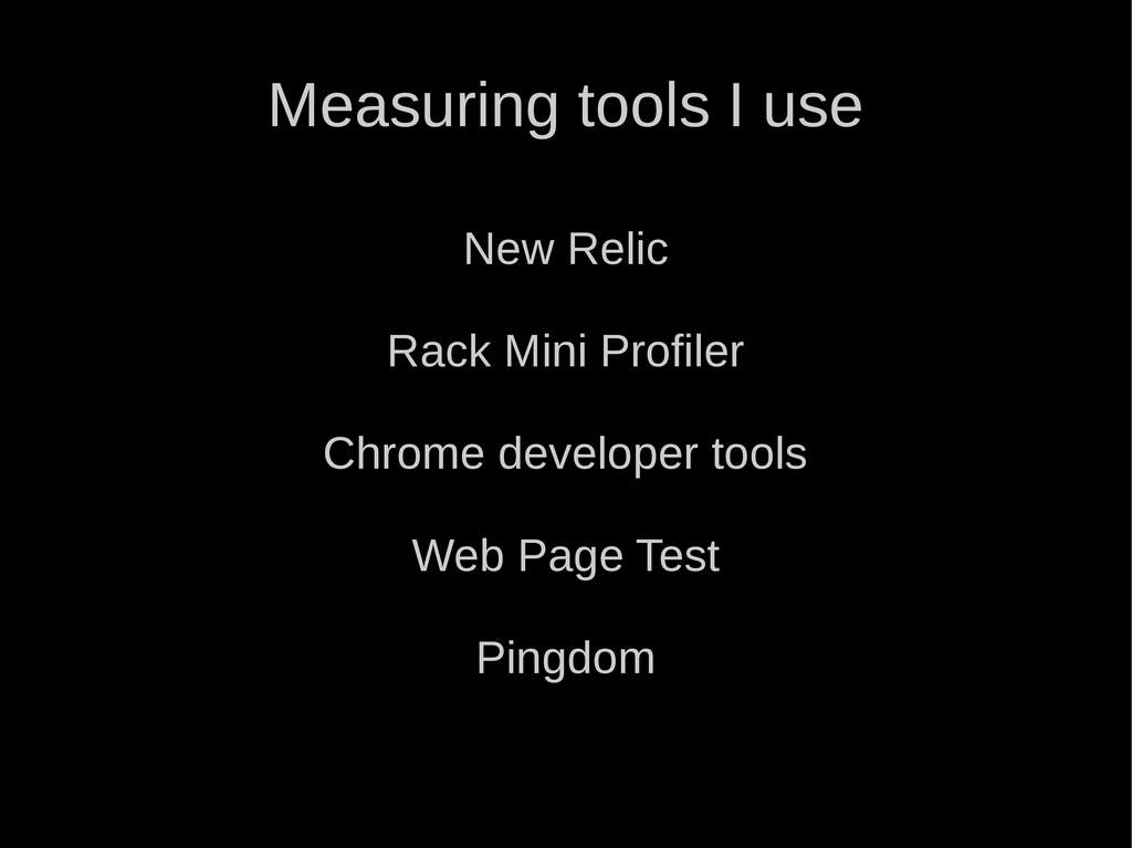 Measuring tools I use New Relic Rack Mini Profi...