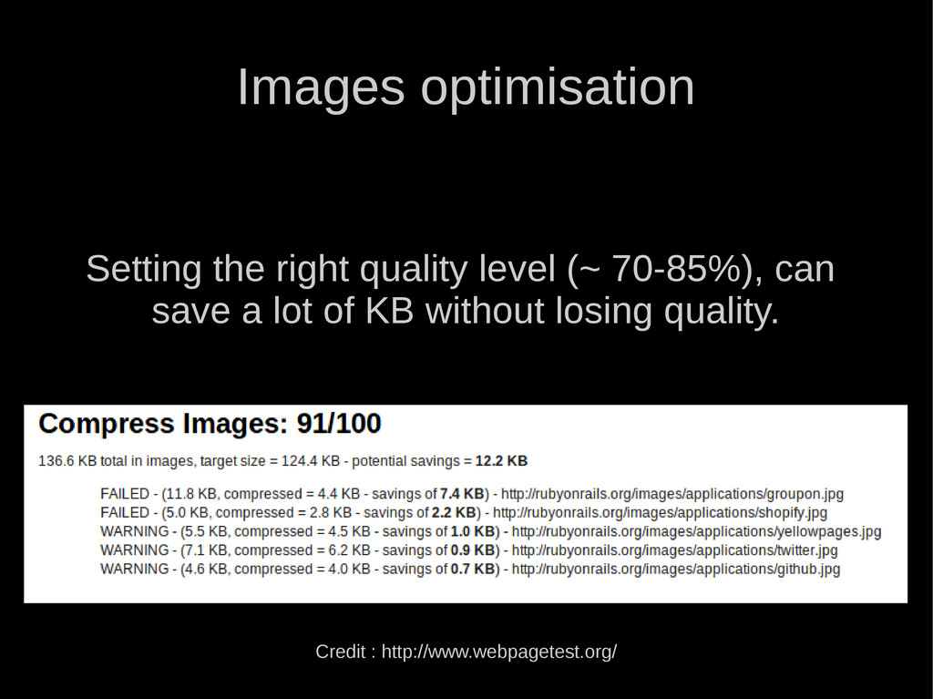 Images optimisation Setting the right quality l...