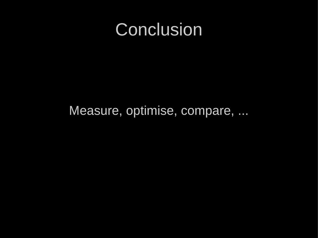Conclusion Measure, optimise, compare, ...