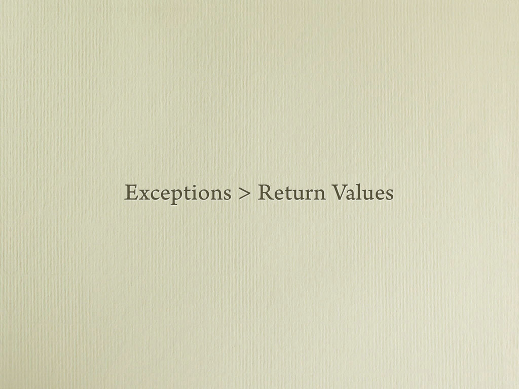 Exceptions > Return Values
