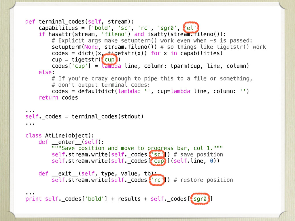 def terminal_codes(self, stream): capabilities ...