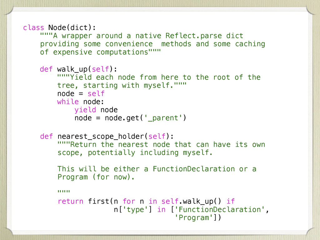 "class Node(dict): """"""A wrapper around a native ..."