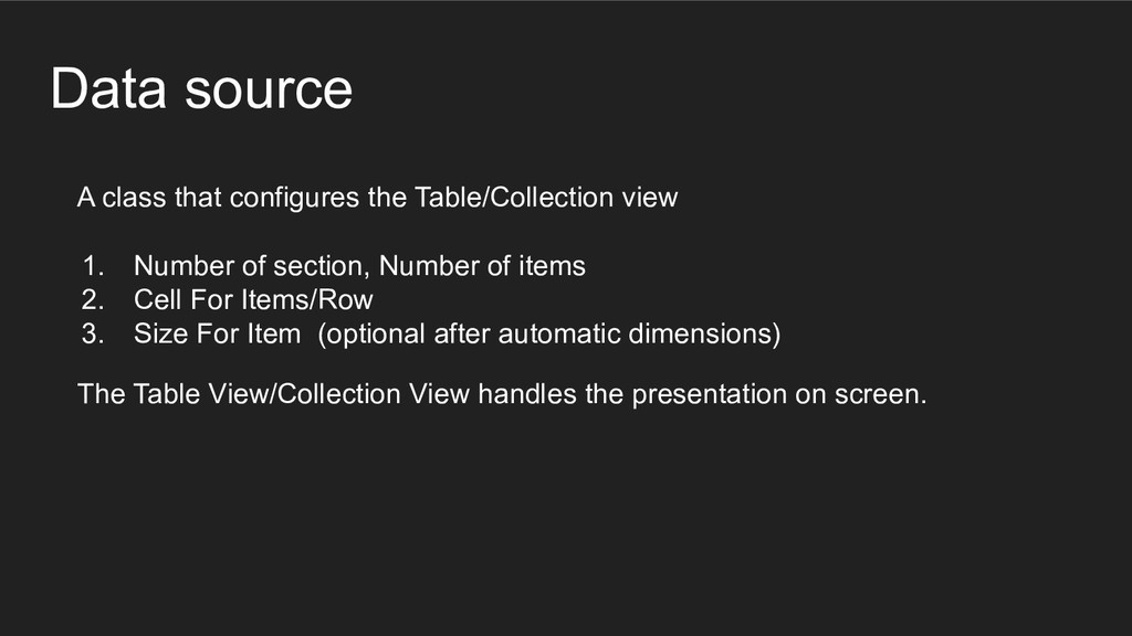 Data source A class that configures the Table/C...