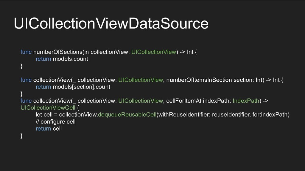 func numberOfSections(in collectionView: UIColl...