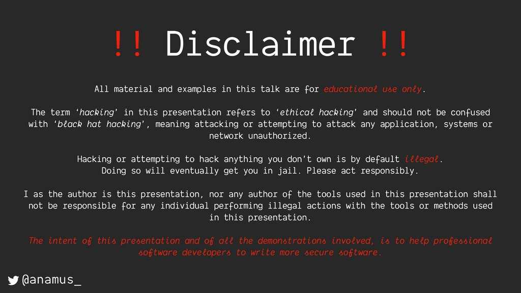 !! Disclaimer !! All material and examples in t...