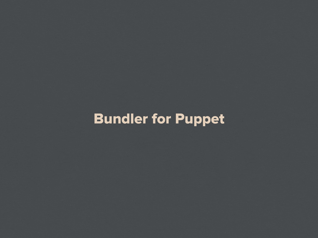 Bundler for Puppet