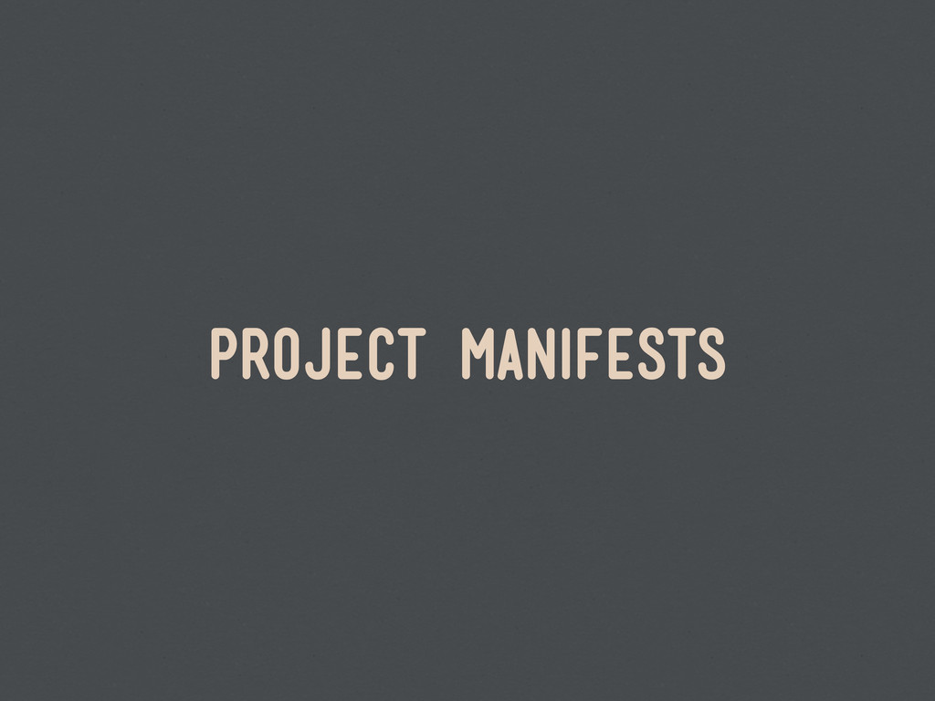 project manifests