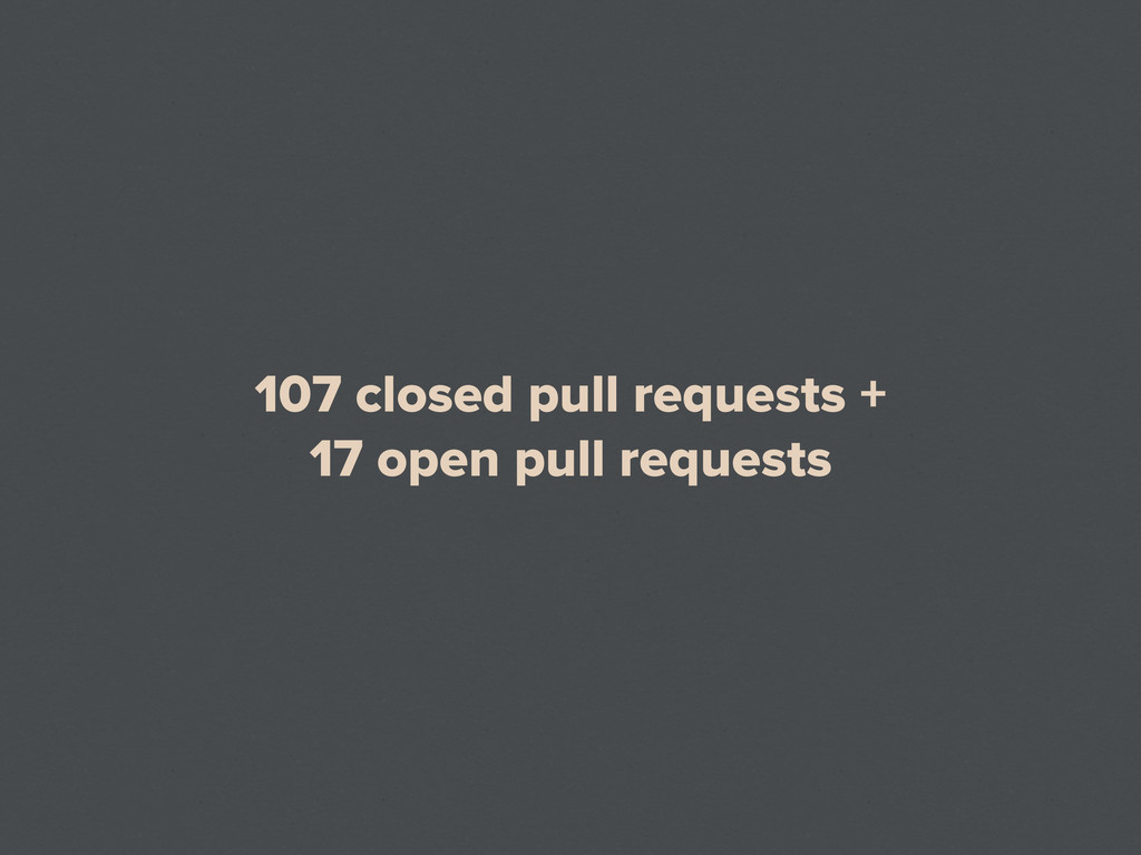107 closed pull requests + 17 open pull requests