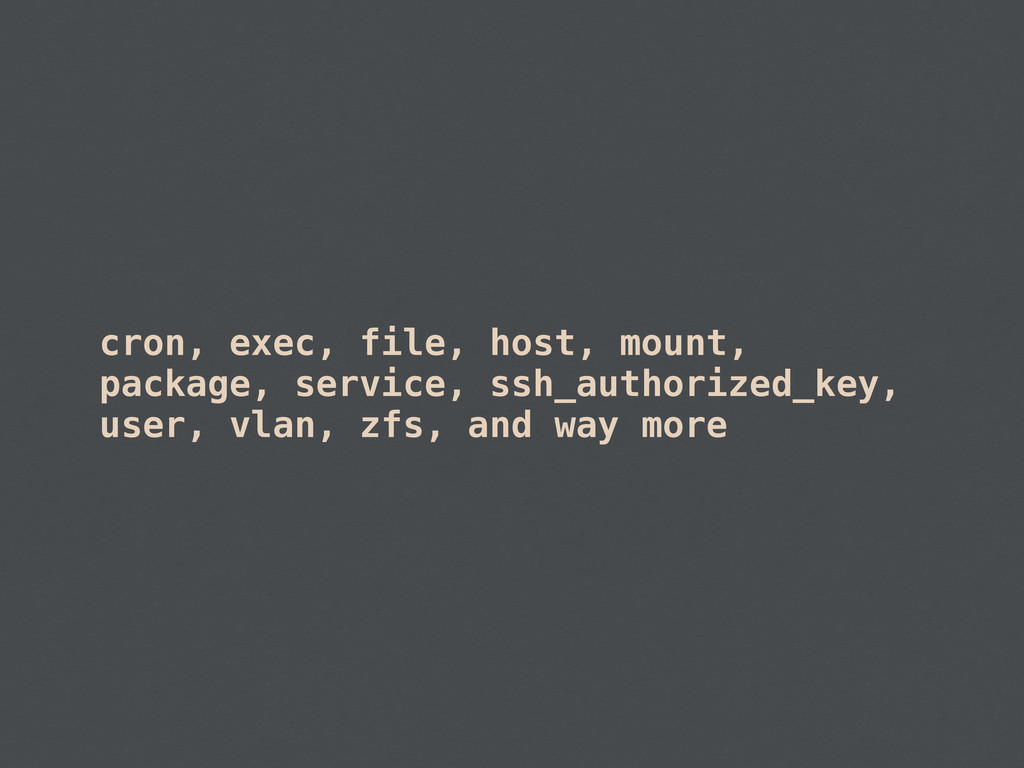 cron, exec, file, host, mount, package, service...