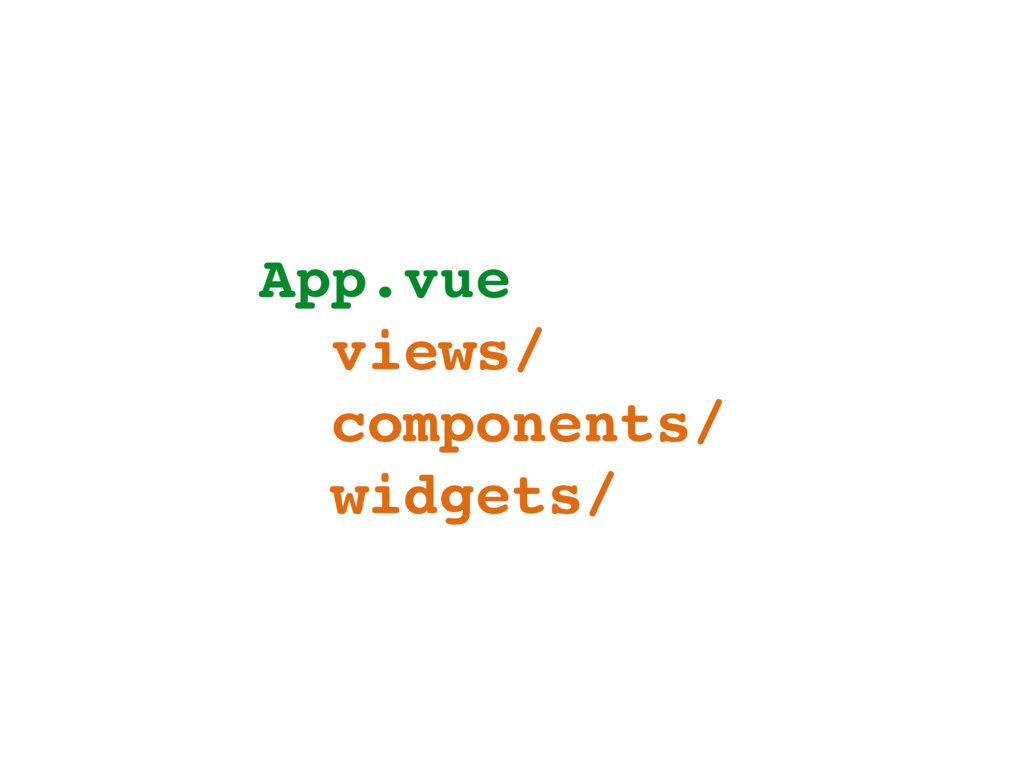 App.vue views/ components/ widgets/