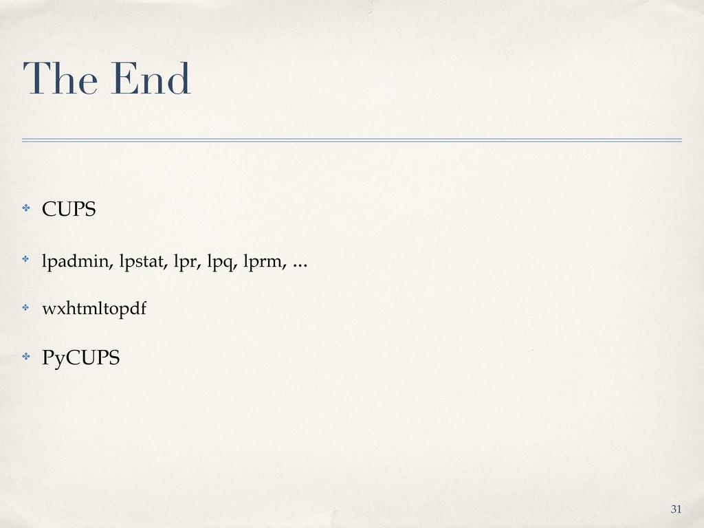The End ✤ CUPS ✤ lpadmin, lpstat, lpr, lpq, lpr...