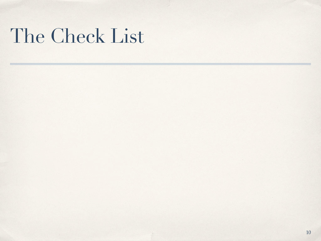 The Check List 10