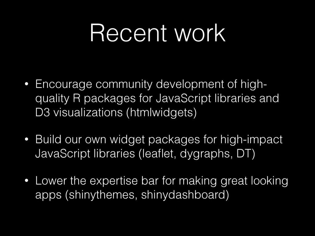 Recent work • Encourage community development o...