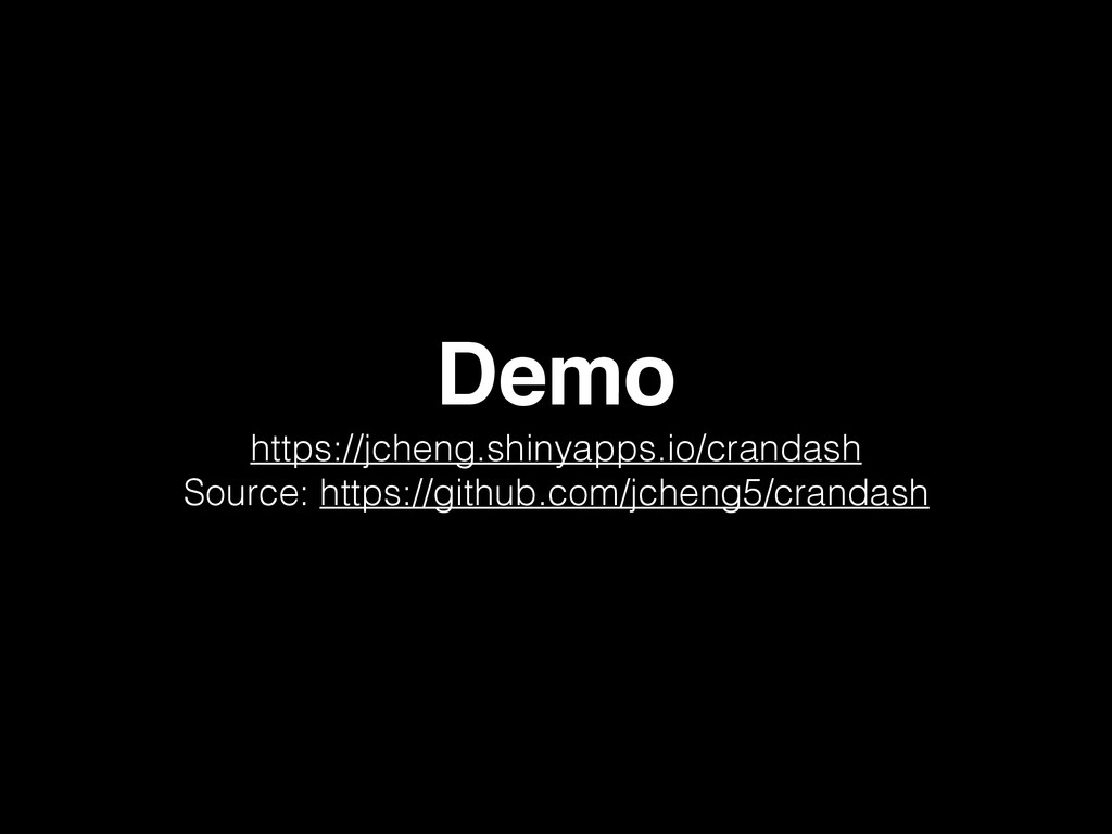 Demo https://jcheng.shinyapps.io/crandash Sourc...