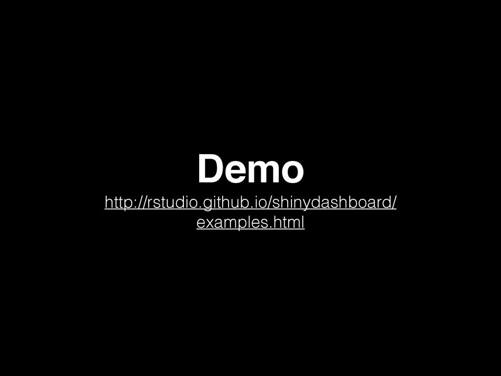 Demo http://rstudio.github.io/shinydashboard/ e...