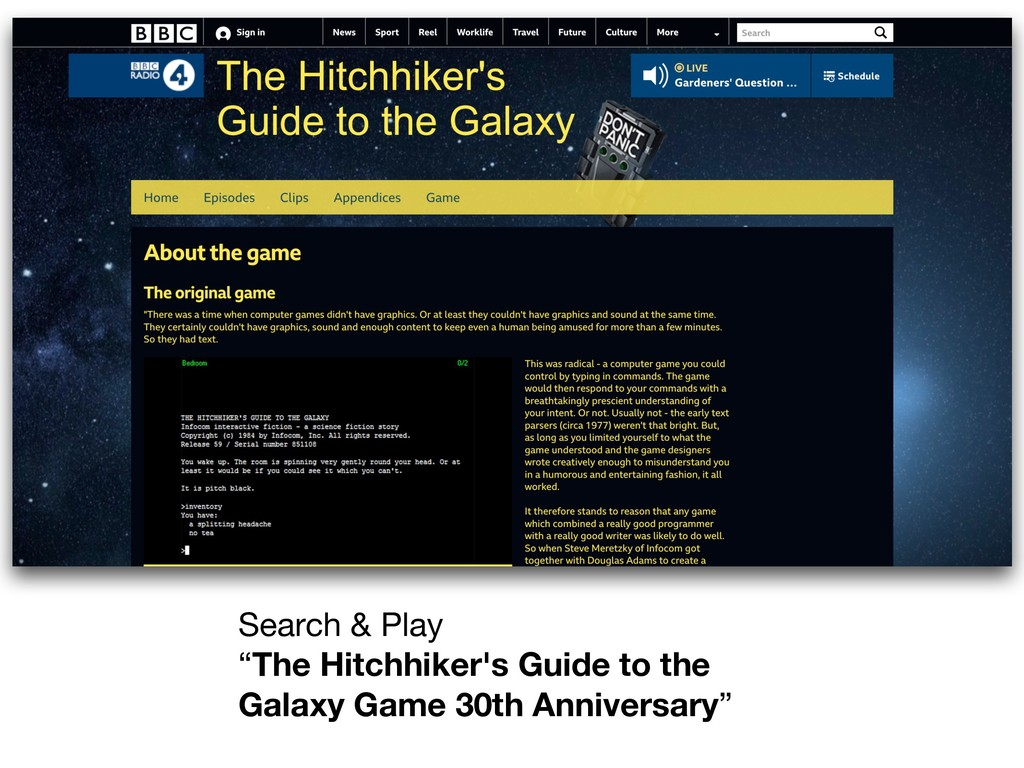 "Search & Play   ""The Hitchhiker's Guide to the ..."