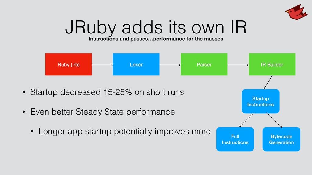 JRuby adds its own IR • Startup decreased 15-25...