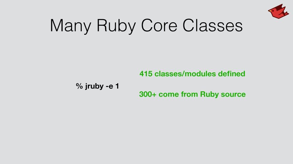 Many Ruby Core Classes % jruby -e 1 415 classes...