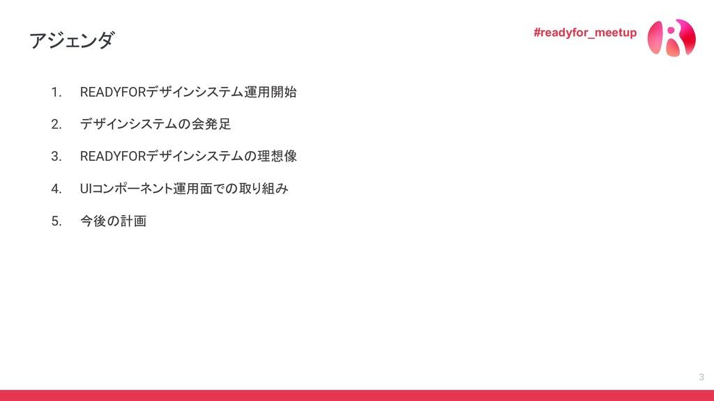 1. READYFORデザインシステム運用開始 2. デザインシステムの会発足 3. READ...