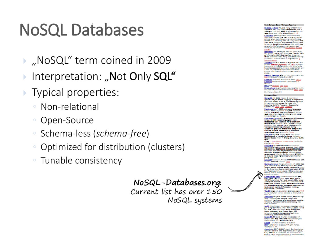 " ""NoSQL"" term coined in 2009  Interpretation:..."