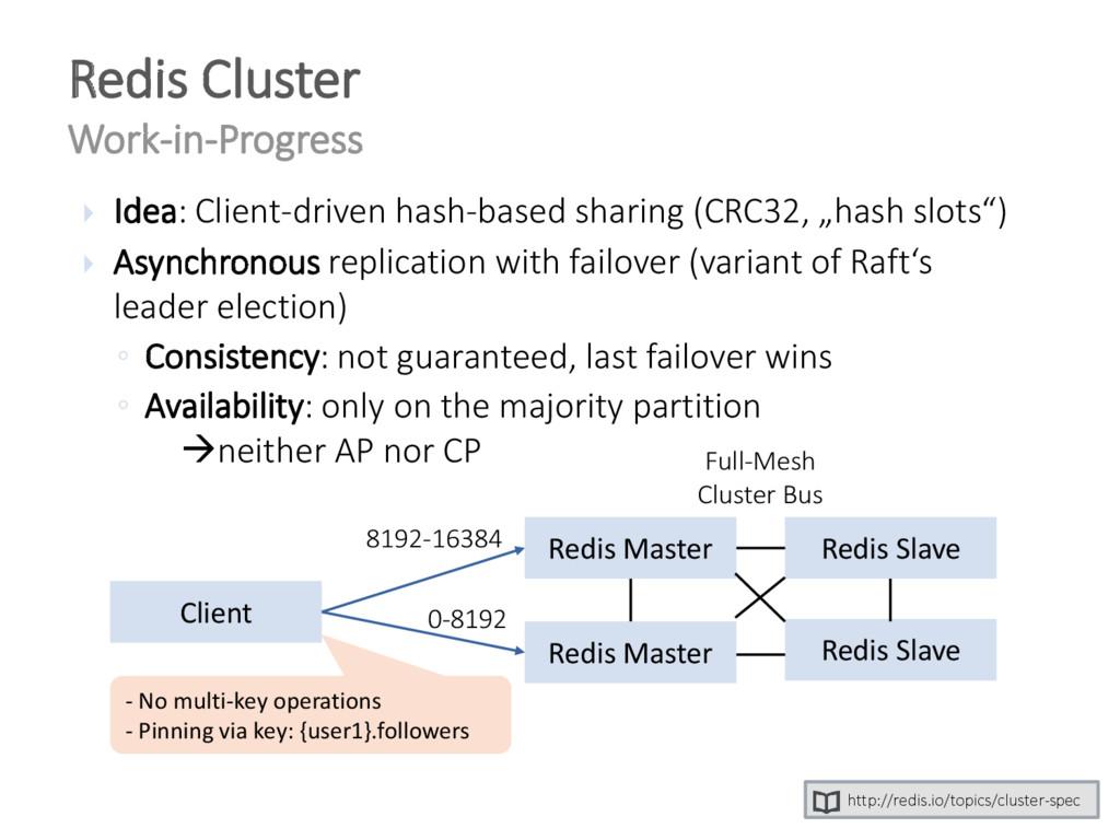 Redis Cluster Work-in-Progress http://redis.io/...