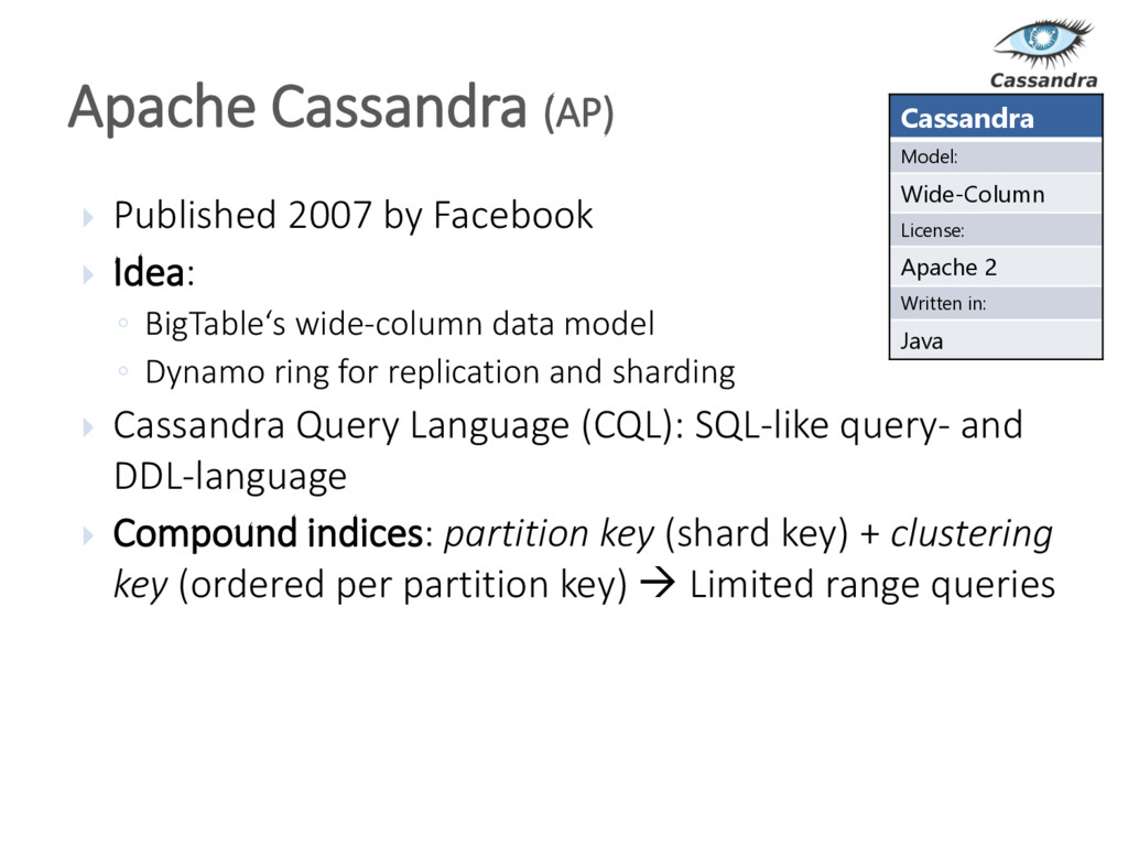  Published 2007 by Facebook  Idea: ◦ BigTable...