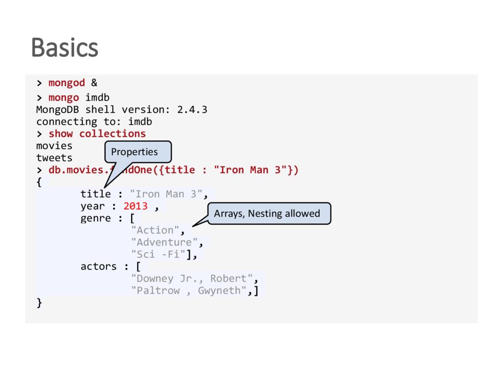 Basics > mongod & > mongo imdb MongoDB shell ve...