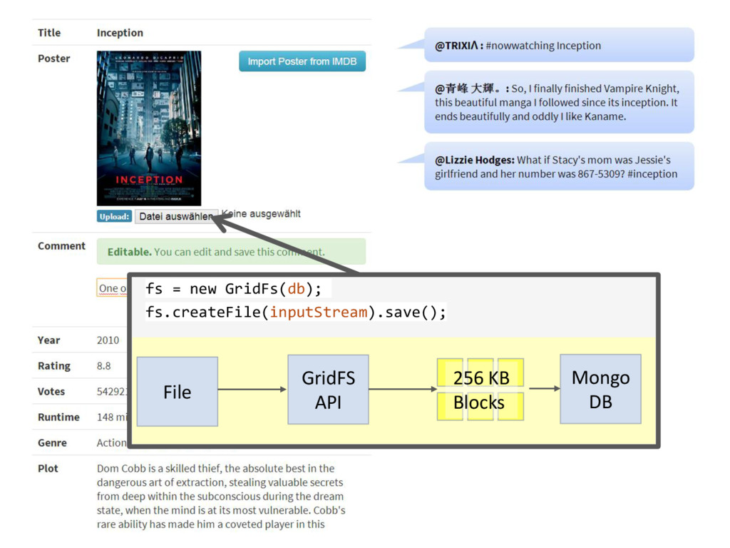 fs = new GridFs(db); fs.createFile(inputStream)...