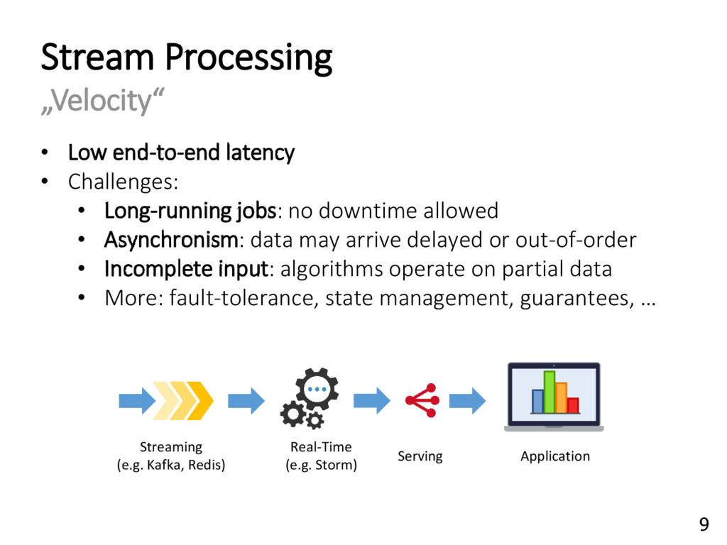 """Stream Processing """"Velocity"""" • Low end-to-end l..."""