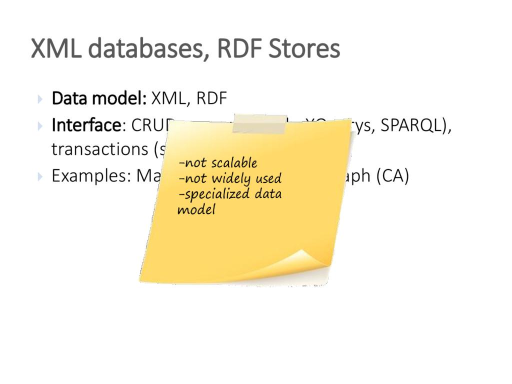 Data model: XML, RDF  Interface: CRUD, query...