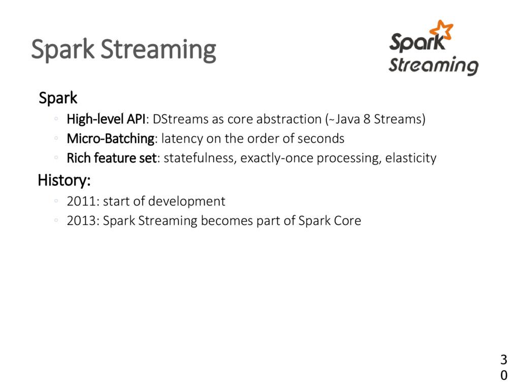 Spark High ◦ -level API: DStreams as core abstr...