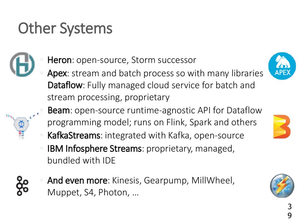 ◦ Heron: open-source, Storm successor ◦ Apex: s...