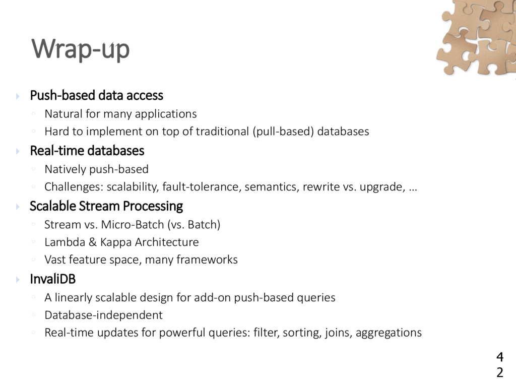  Push-based data access ◦ Natural for many app...