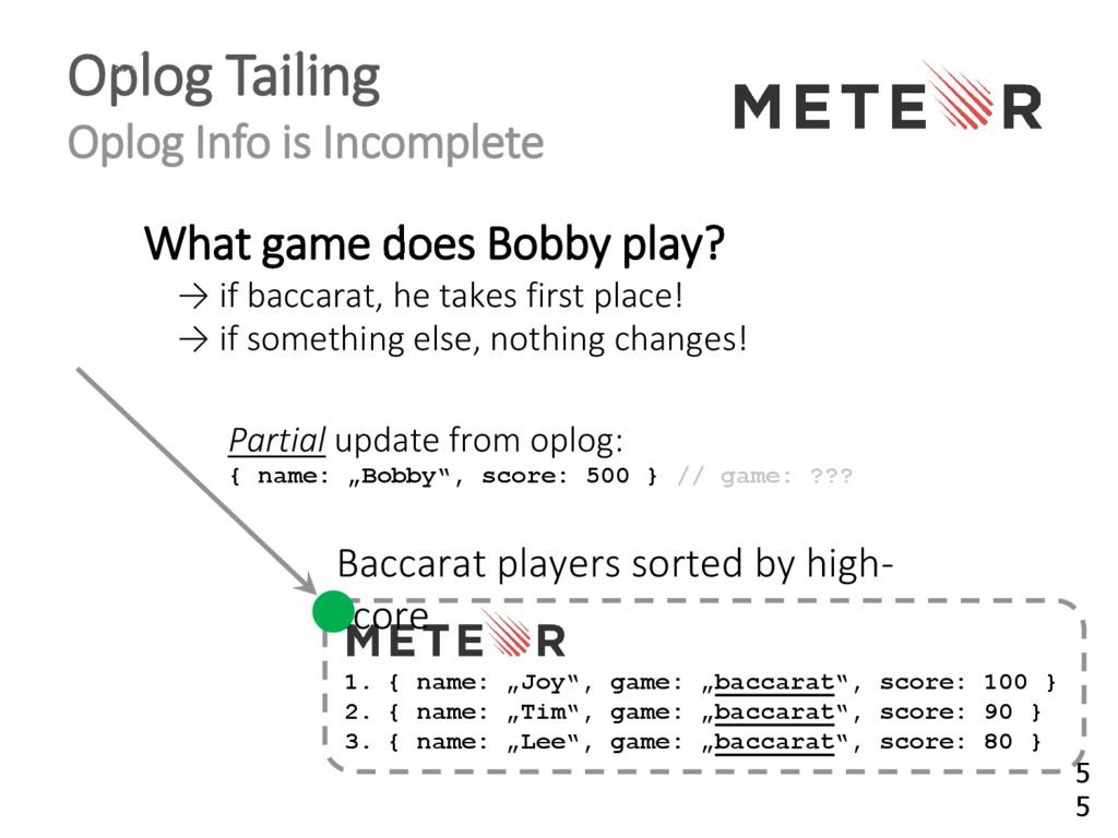 Oplog Tailing Oplog Info is Incomplete 1. { nam...