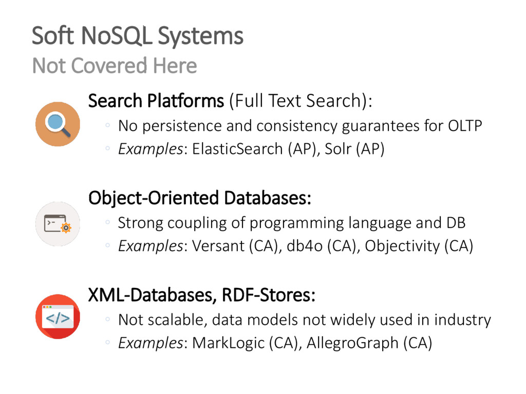Search Platforms (Full Text Search): ◦ No persi...