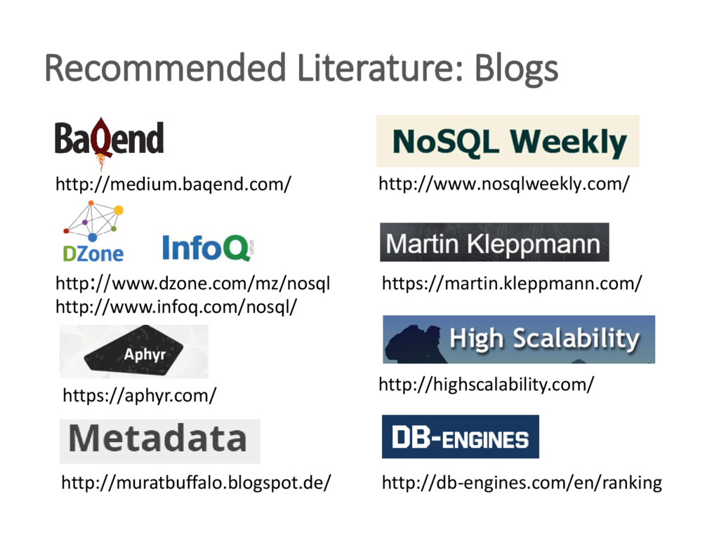 Recommended Literature: Blogs https://martin.kl...