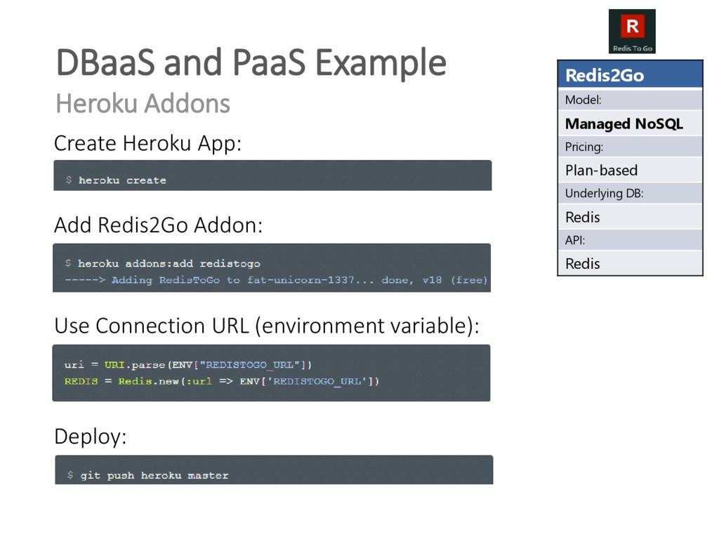 Redis2Go Model: Managed NoSQL Pricing: Plan-bas...
