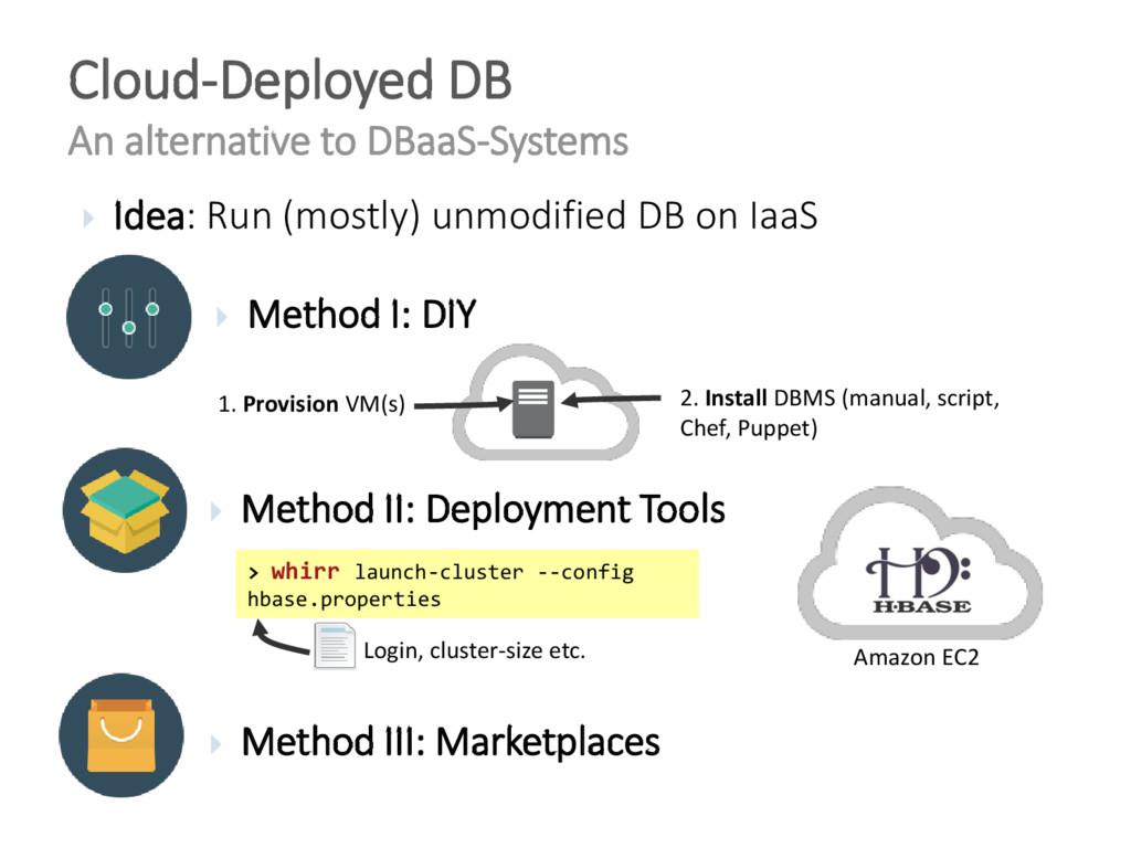  Idea: Run (mostly) unmodified DB on IaaS Clou...