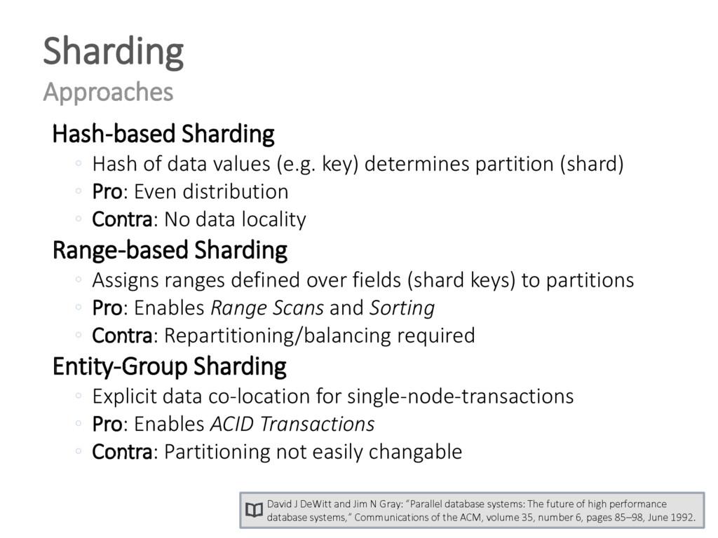 Hash-based Sharding ◦ Hash of data values (e.g....