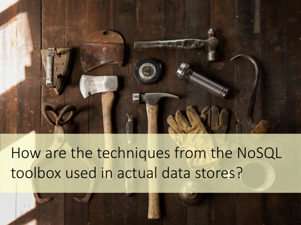 How are the techniques from the NoSQL toolbox u...